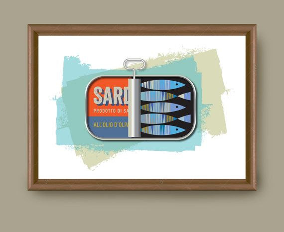 Kitchen Wall Print, Sardines Can