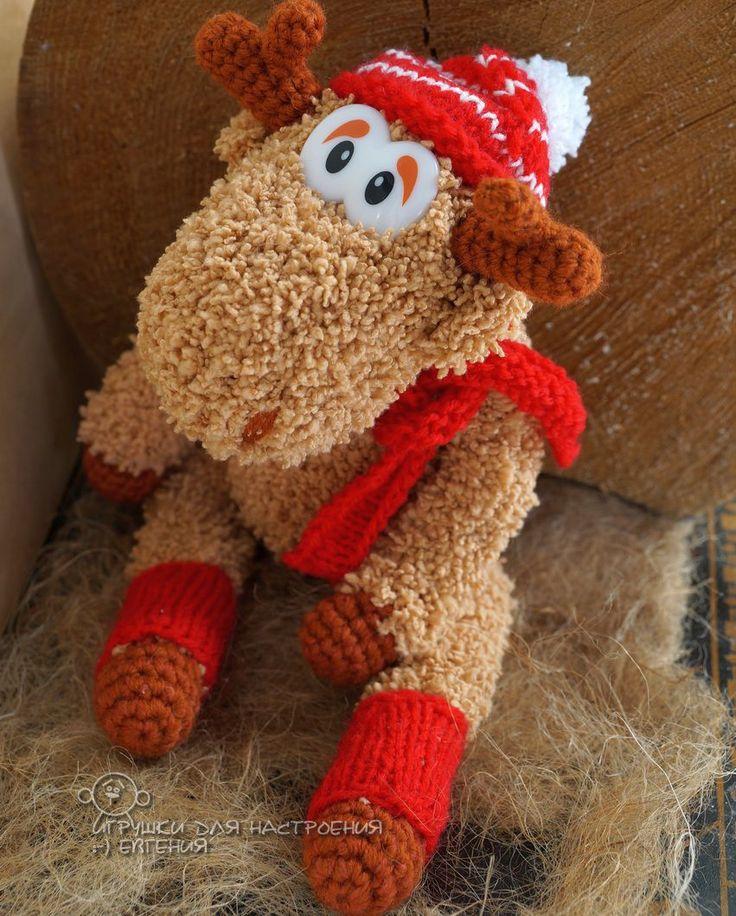 Купить Лось Рождественский в красном средний - коричневый, красный, белый, Новый Год, рождество