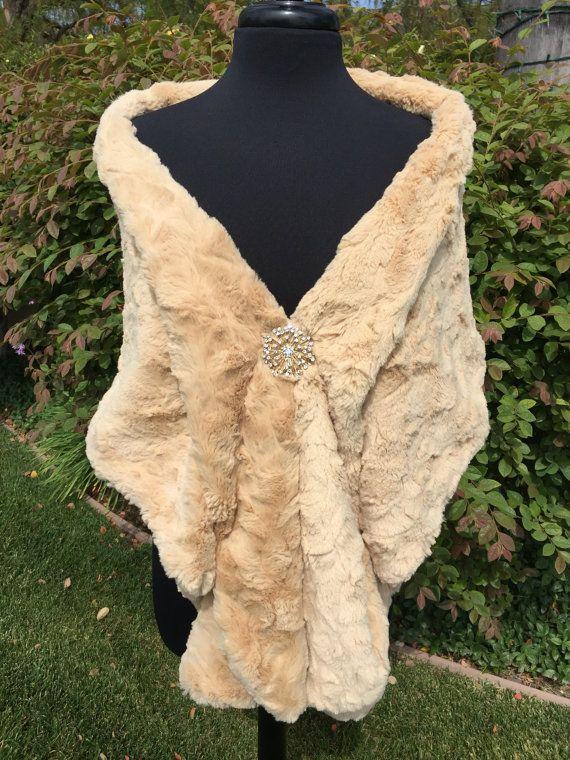 gold faux fur wrap wedding stole bridal shawl by