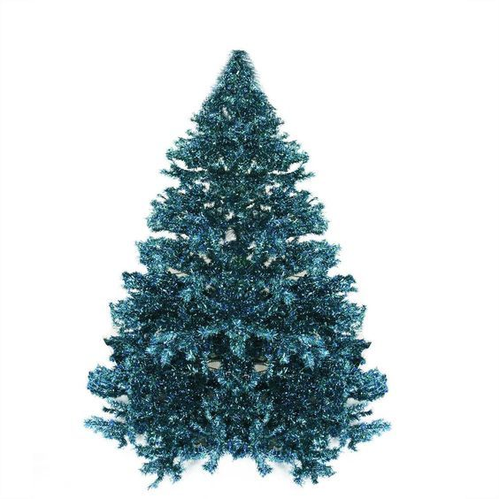 7.5' Pre-lit Shimmering Blue Green Peacock Color Theme Tinsel Christmas Tree | ChristmasCentral