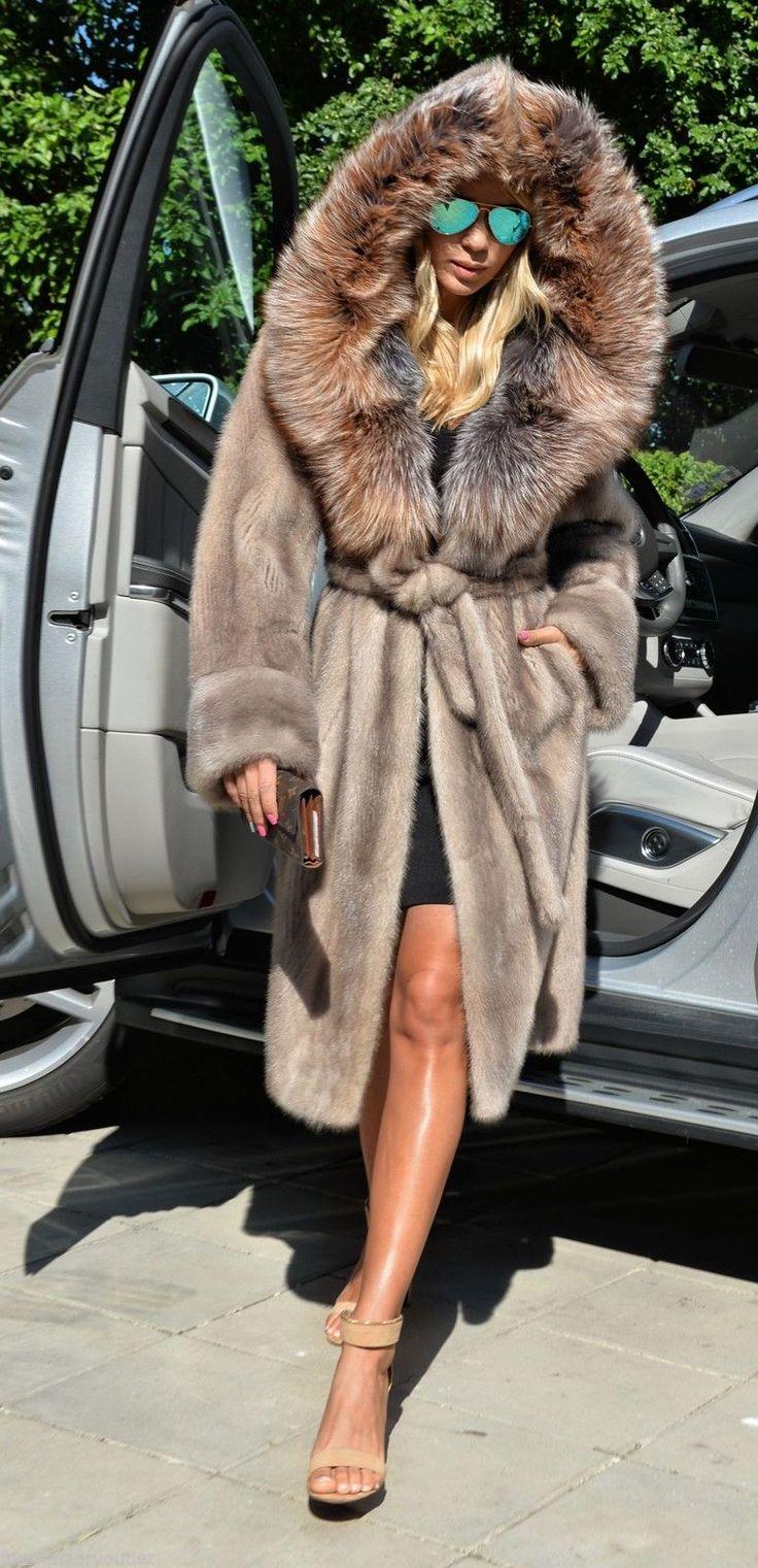 Platinum Saga Mink Fur Coat Silver Fox Hood Trench Class Jacket Sable Chinchilla   eBay
