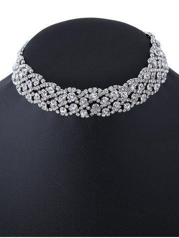 Rhinestone Wedding Choker Necklace - Silver