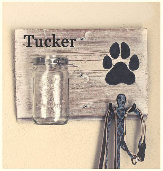 Dog Leash Holder and Treat Holder by BrandNewToMe on Etsy