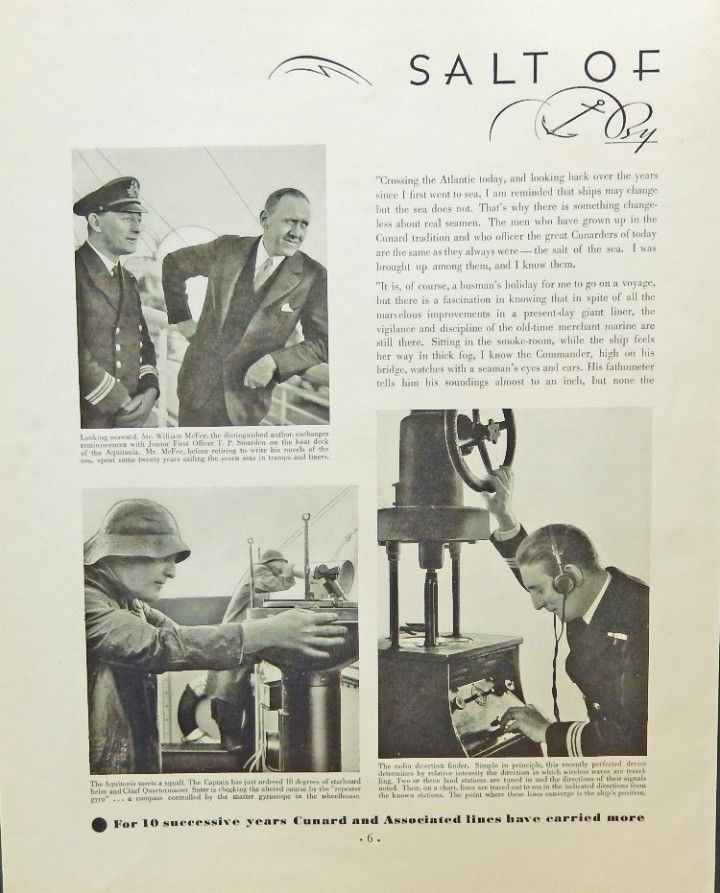Cunard and Associated Lines  30 s print ad  B W Illustration  William McFee  Fortune Magazine Art