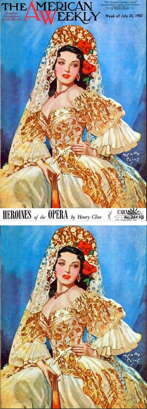 HENRY CLIVE - Heroines of the Opera - Carmine - July 23, 1950 The American Weekly - cover by vintage-rama.blogspot - pin by Teresa Carcaboso Corbacho