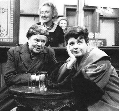 1960 Coronation Street in black and white. Elsie Tanner always good for a scandal. Ena Sharples with her sharp tongue and Annie Walker the snobby owner of the Rovers Return pub