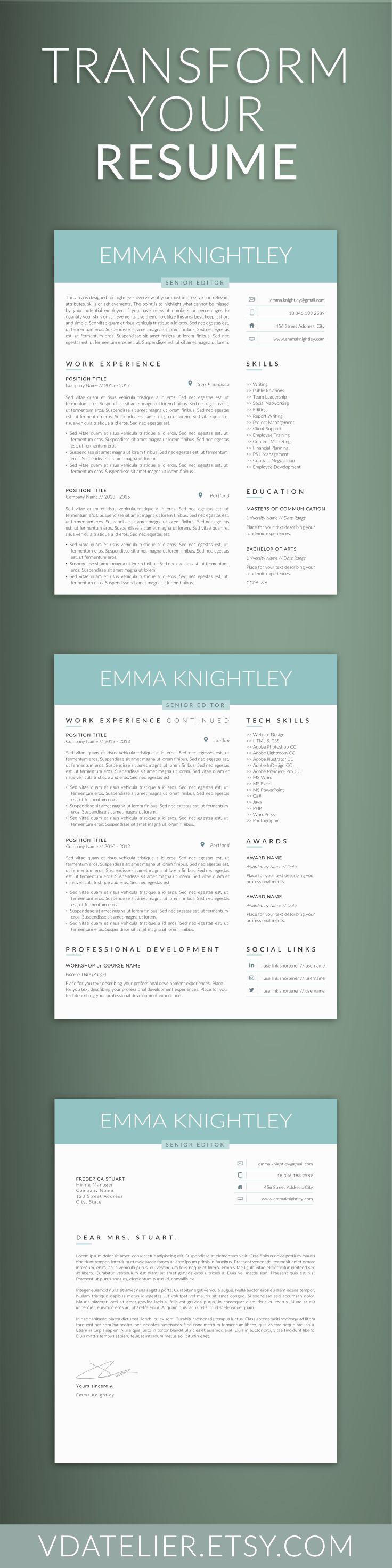 professional resume template word easy edit resume cv modern template for word feminine