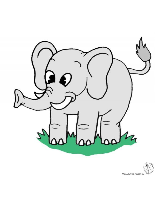 Disegno Di Elefante A Colori Per Bambini Gratis