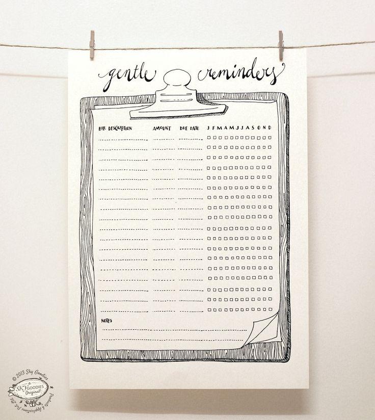 DOODLE Bill Reminder / Organizer Printable A4 and por SkyGoodies