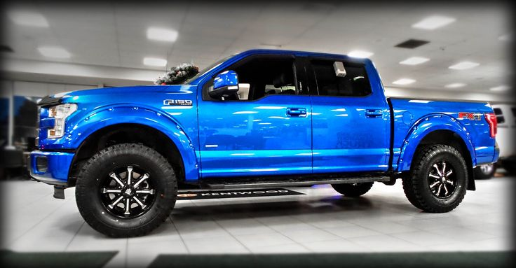 "Levelled 3.5L V6 EcoBoost powered, 2015 ""Blue Flame Metallic,"" Kentwood Kustoms ‪#‎Ford‬ F-150 Lariat ‪#‎4X4‬"