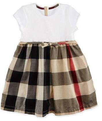 Burberry Cap-Sleeve Check-Skirt Combo Dress, Tan, Size 3M-3