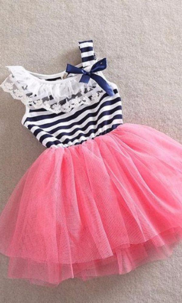 Sailor Striped Tulle Dress Pink