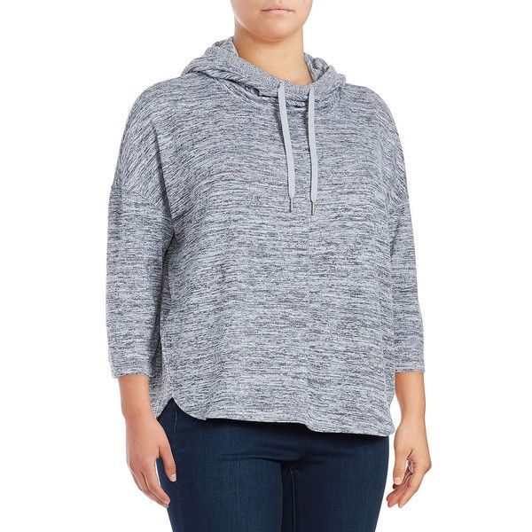 Calvin Klein Performance Plus Women's Marled Knit Hoodie ($69) ❤ liked on Polyvore featuring plus size women's fashion, plus size clothing, plus size tops, plus size hoodies, eclipse, slouchy hoodie, 3/4 sleeve knit tops, calvin klein performance, calvin klein performance tops and 3/4 sleeve tops