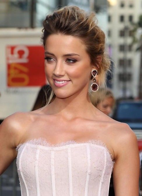 updo hairstyles | Amber Heard Messy French Twist Updo | Hairstyles Weekly