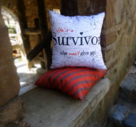 She's a Survivor throw pillow 16x16 by SheDecor on Etsy, $14.99