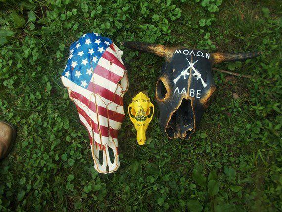 Painted Cow Skull American Flag Ranch Decor Western Decor America Usa Painted Cow Skulls Cow Skull Cow Skull Decor