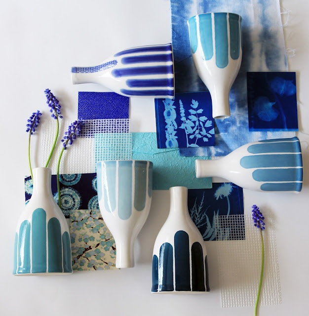 Dahlhaus - Shades of blue striped bottle vases (Made in Canada)