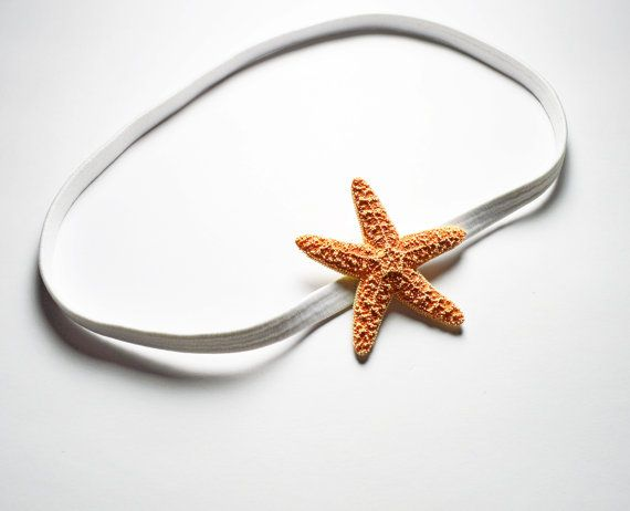 White Starfish Elastic Headband - - Beach Accessory, Beach Wedding, Mermaid Hair Accessories, Starfish Hair Accessories