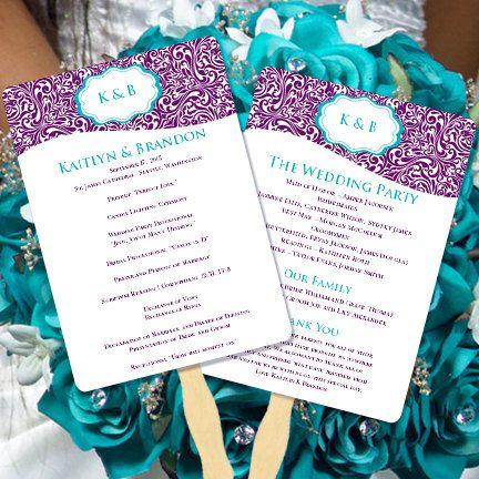 Wedding Program Fan Makayla Turquoise & Purple by WeddingTemplates, $10.00