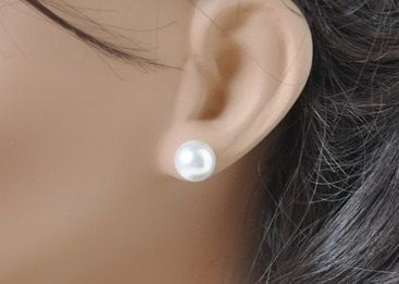 Pearl Stud Earrings, 10mm Pearls, Swarovski,  Large Pearl Preppy Earrings, White or Ivory, Bridal Earrings, Bridesmaid Gift, Wedding Jewelry on Etsy, $14.75