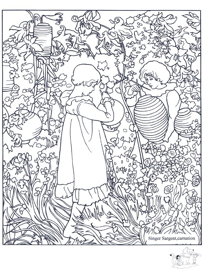 Carnation, Lily, Lily, Rose, by S. Sargent: This site makes you sit through a short ad before loading the coloring page.