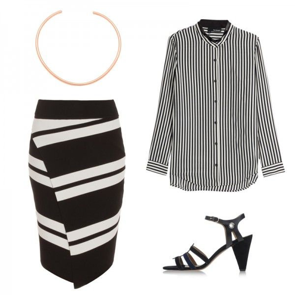 cliftstripe pencil skirt a.l.c. $498 Black And White Outfit Ideas For A Cocktail Party | The Zoe Report