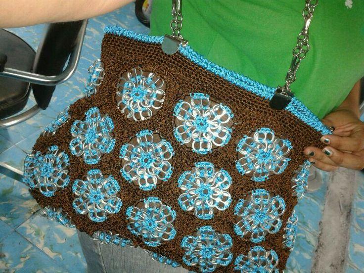 Bolsa tejida a crochet /con fichas de soda | Cosas que me encantan ...