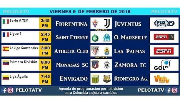 Agenda Futbolera #Televisión #EnVivo #Colombia #Partidos #Futbol #LigaAguila #futbolcolombiano #futbolcolombia #cervezaaguila #rionegroaguilas #envigadofc #juventus : @pelotatv #futboljuventus