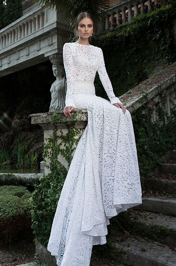 Totally glam lace wedding dress with long sleeves #wedding #bride #fashion