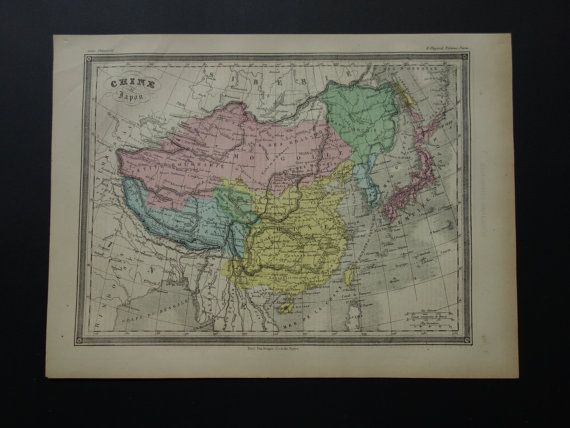 Over 137 year old map of  China and Japan 1878 by VintageOldMaps