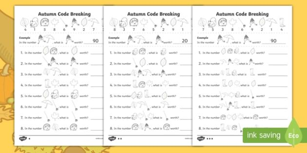 Autumn Themed Place Value Code Breaking Worksheet Pack Fundamental Math Place Values Math For Kids Code breaking worksheets