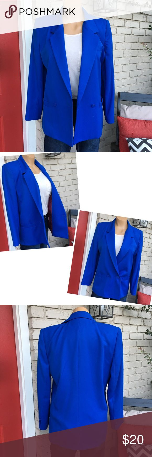 Royal blue blazer with free matching pencil skirt Vintage royal blue blazer. Great shape except for a teeny mark on right shoulder and a little piling ONLY on shoulders as seen in last pic. Otherwise, great condition! Satin interior and has pockets! Size 6P. I am including the matching royal blue pencil skirt free with it when shipped (not pictured but in fantastic condition)! :-) Worthington Jackets & Coats Blazers