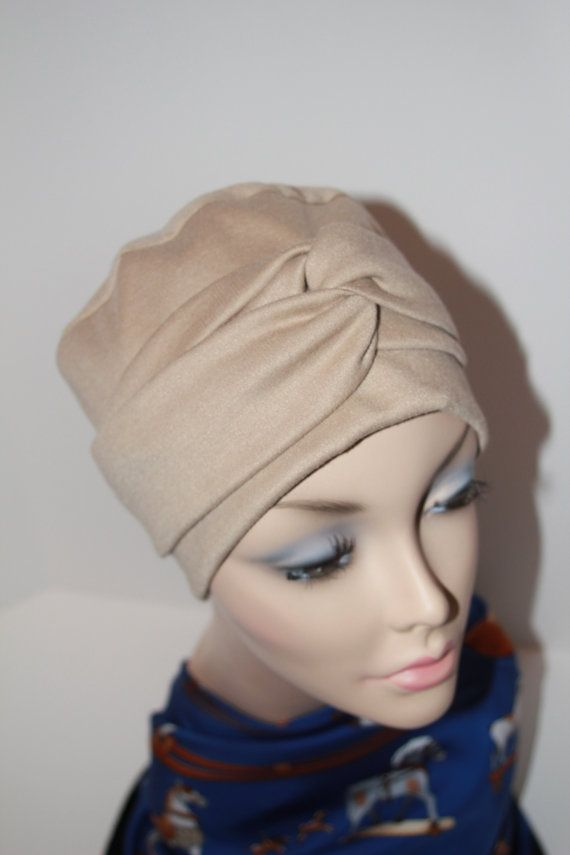 Beige Chemo Hat Cancer Cap all Cotton Jersey Knit by ThePinkScarab, $20.00