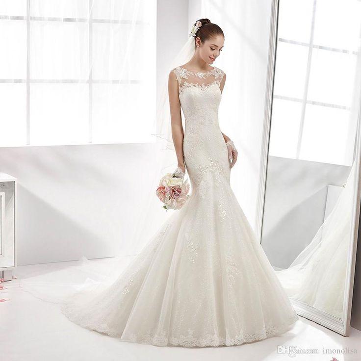 New Illusion Lace Appliques Wedding Dresses Elegant Long Mermaid Wedding Dresses 2016 Vestido De Noiva Casamento Wedding Gowns 2015 Alternative Wedding Dresses From Imonolisa, $146.08| Dhgate.Com