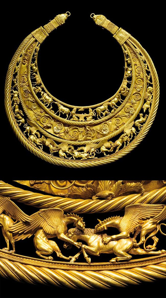 A Scythian golden pectoral from the royal grave at Tolstaja Mogila kurgan, Ukraine, perhaps 400 BC or earlier. Depicts Scythian life and mythologies. The weight of the piece is 1150 grams, 36.9 troy oz, or 2.5 lb.