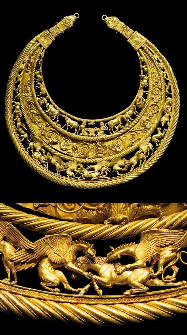 "A golden pectoral from the royal grave at Tolstaja Mogila kurgan, Ukraine, 400 BC. Depicting Scythian life and mythologies. ""Repinned by Keva xo""."