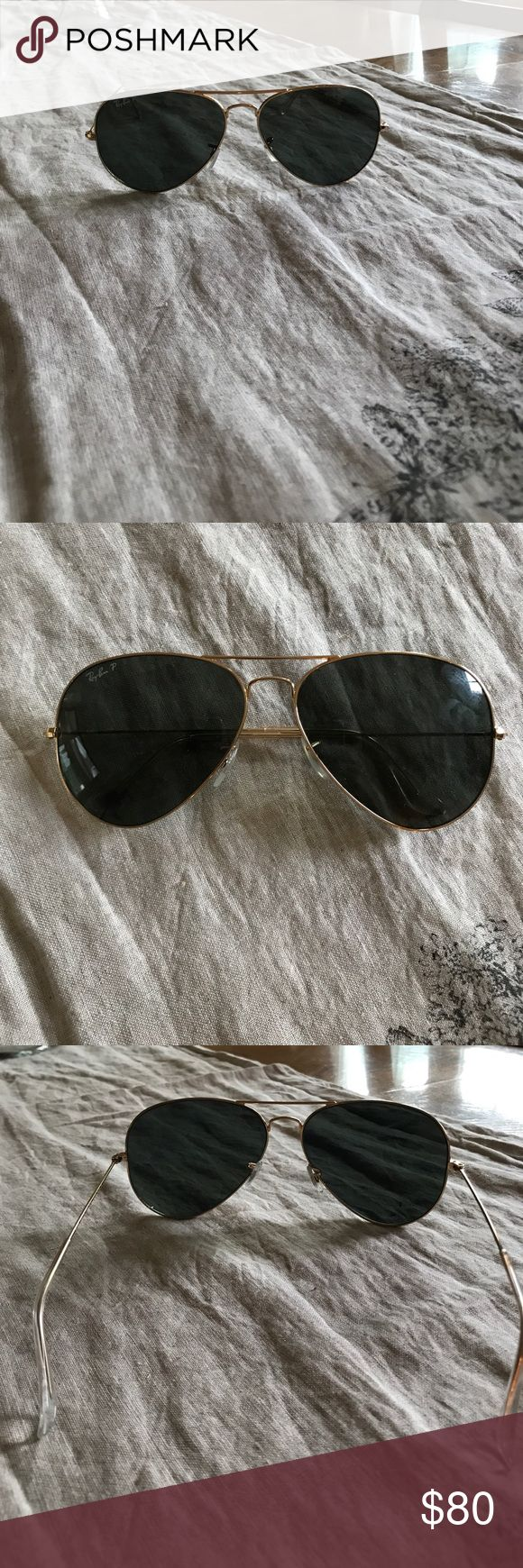 POLARIZED black Ray Bans 62 MM NEW condition - worn a handful of times but look BRAND NEW. Gold and black polarized Ray Ban aviators Ray-Ban Accessories Sunglasses