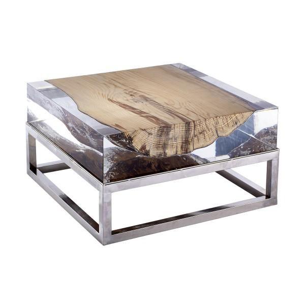 Table basse bois flottés et verre acrylique Nilleq - Mon Chalet Design
