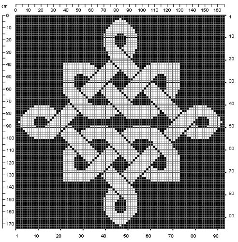 celtic knot chart from cross stitch, needlepoint, or crochet