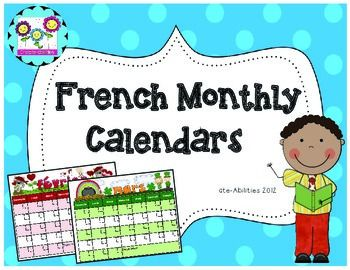 French Monthly Calendars! FREE