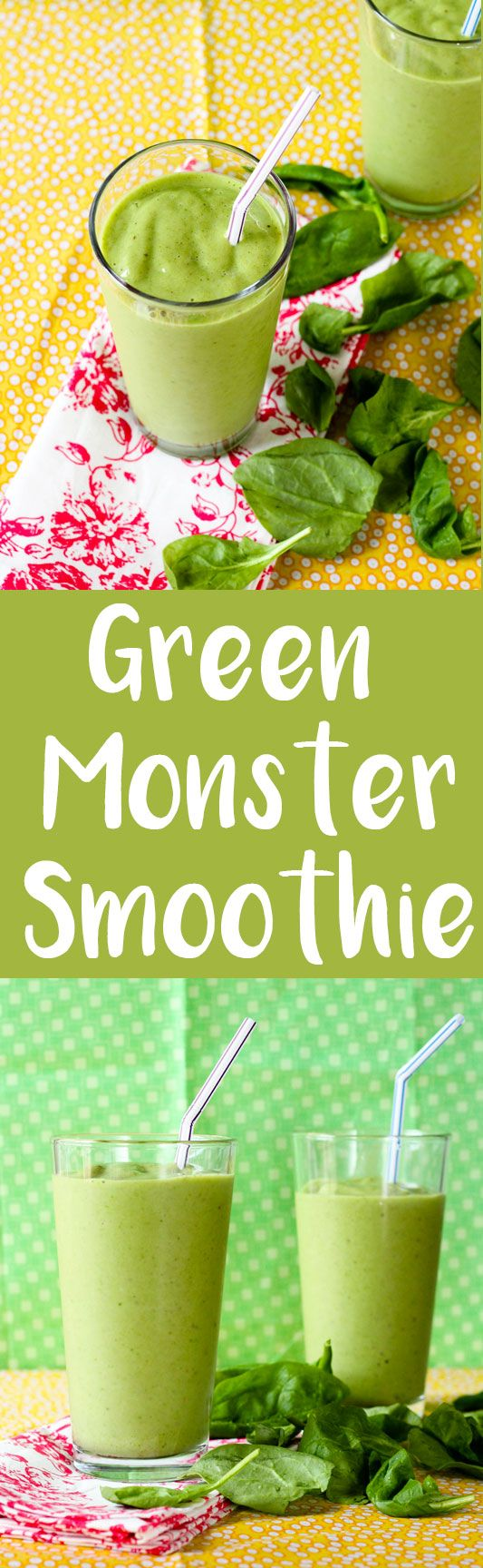 This green monster smoothie is packed with delicious fruit and you won't even be able to tell there is a healthy green leaf in here!