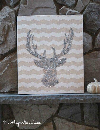 DIY Glitter Deer Head Art – 11 Magnolia Lane