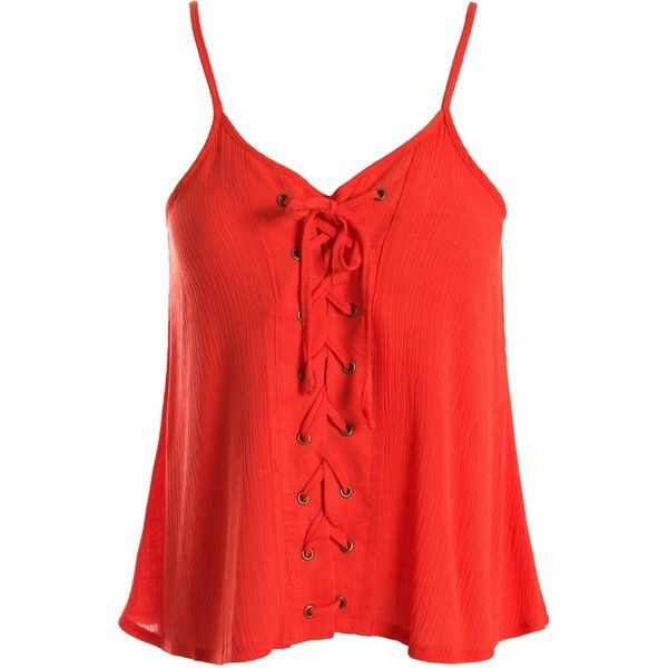 Sans Souci Orange lace up cami top ($29) ❤ liked on Polyvore featuring tops, orange, lace up top, orange camisole, red top, polyester camisole and orange tank