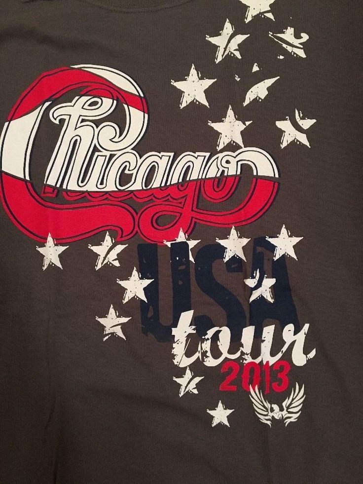 CHICAGO Shirt USA Concert Tour T-SHIRT XL Red White Blue Stars 2013 Dark Gray