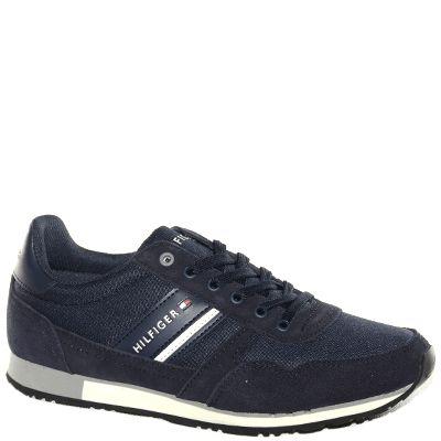 #Sneaker allacciata in tessuto blu