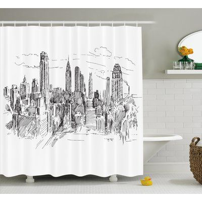 """Ebern Designs Blondelle Sketchy NYC Cityscape Shower Curtain Size: 69"""" W x 84"""" L"""