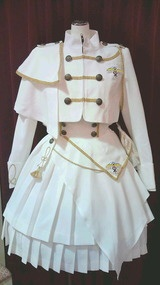 Macross Frontier x METAMORPHOSE TEMPS DE FILLE Collaboration outfit.  Short  Jacket with High waisted coat in white colorway