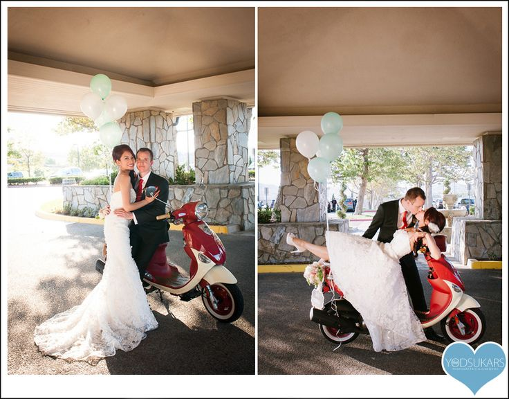 getaway car vespa scooter wedding just married sign balloons red kiss ...