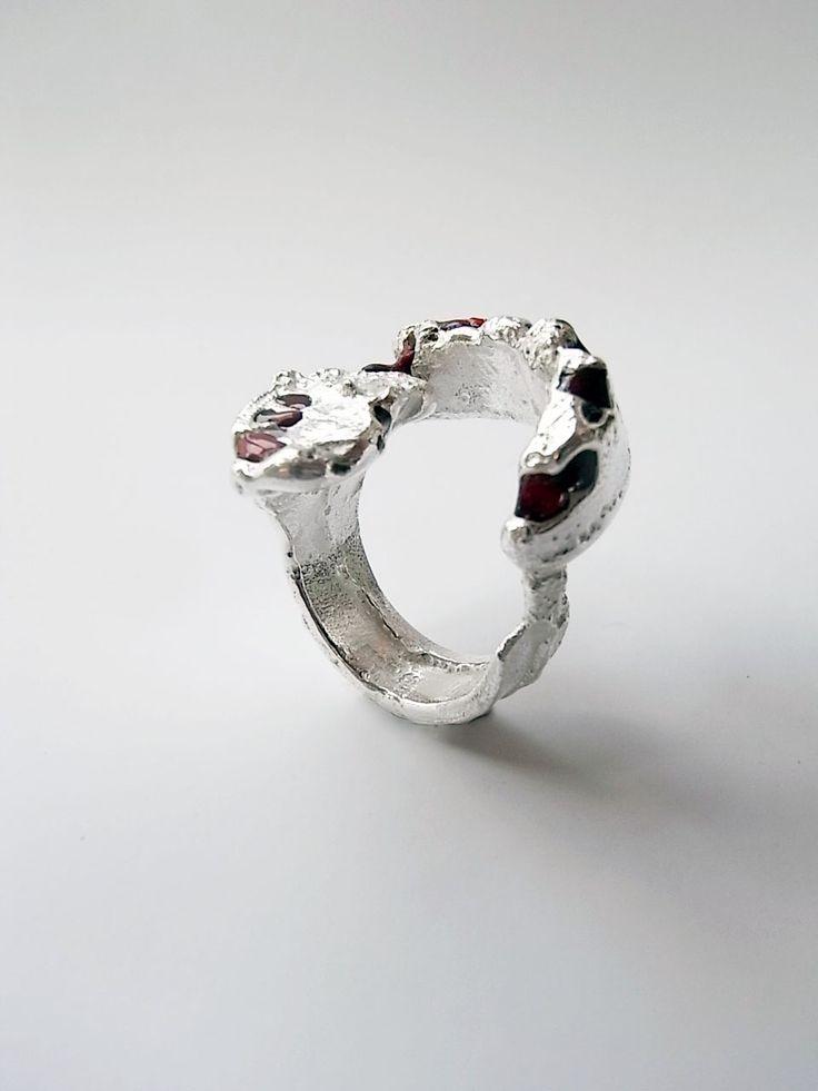 Grand freeform silver ring with red enamel by Kelvin J Birk