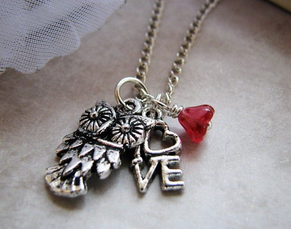 Love owl  Tibetan silver charm necklace by DancingJellybean, $19.00